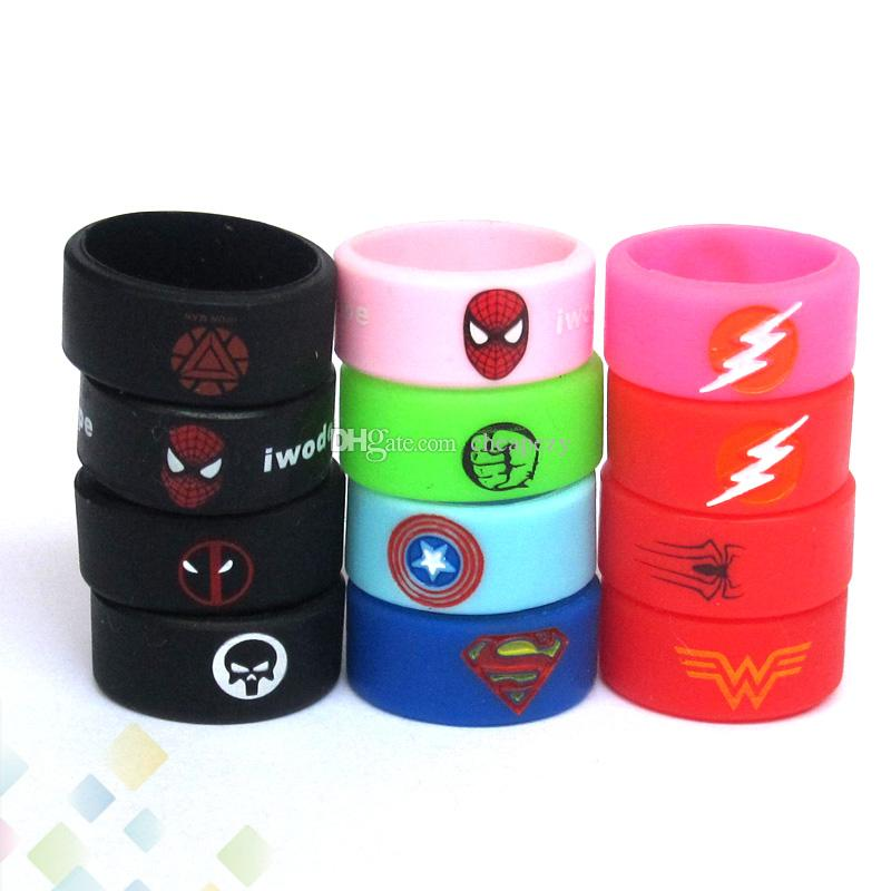 Vape Band Silicone Rings with Superman Flash Captain America Logo Colorful Rubber Rings fit RDA RTA Atomizer Mods DHL Free