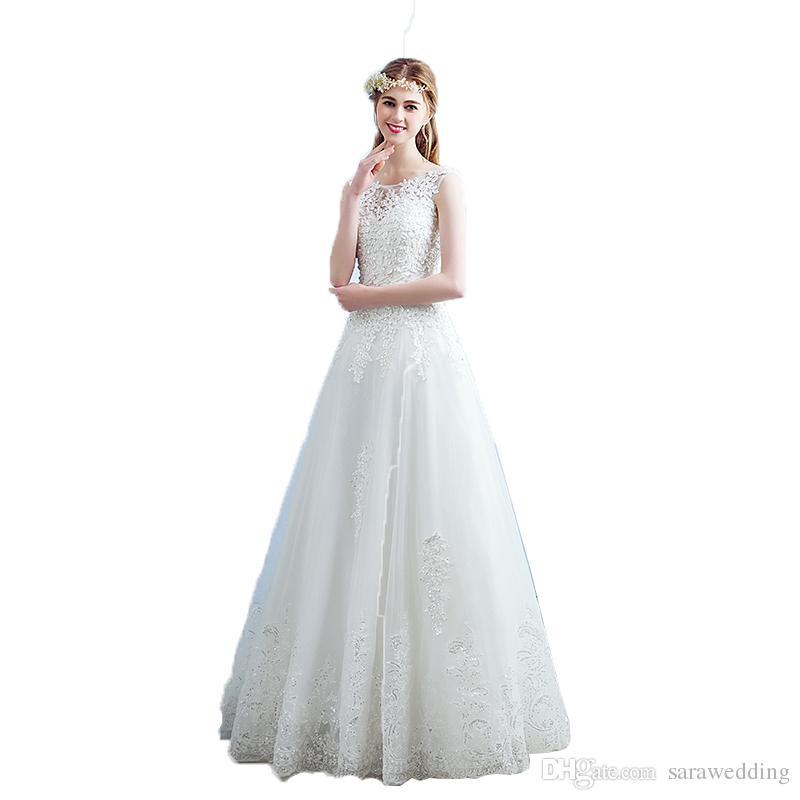 Discount Bateau Neck Lace Appliques Wedding Dress Lace Up 2018 ...