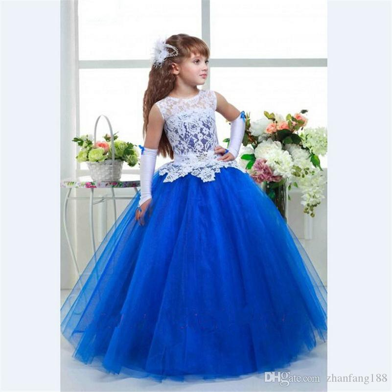 2019 Royal Blue Flower Girl Dress vestido de baile Caixilhos de tule Frisada Kid Evening Vestido Pageant Vestidos para Little Girls vestido daminha