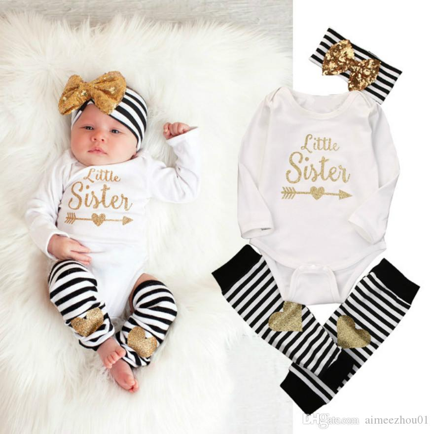 98903261628b 2019 Fashion Spring Newborn Baby Girls Clothes Little Sister Long Sleeve  Bodysuit Romper Striped Leg Warmer Bow Hairband Kids Clothing Sets From  Aimeezhou01 ...