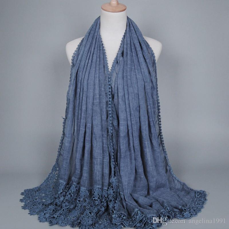 High quality Popular cotton lace floral scarf bandhnu design hijab muslim autumn Muffler fashion wrap scarves/scarf