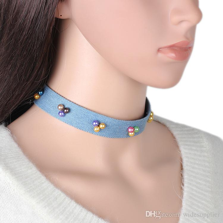 Hot Sale Colorful Pearl Necklace Choker Jeans Necklace Choker for Women 2017 Diamond Choker Necklaces New Hot Selling Item