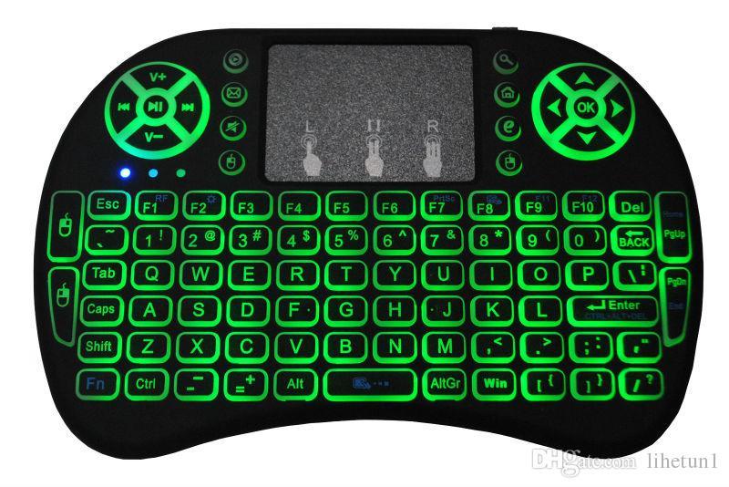 Wireless Mini i8 tastiera retroilluminata retroilluminazione del telecomando la tastiera Android TV Box 2.4G con touch pad PC Smart TV