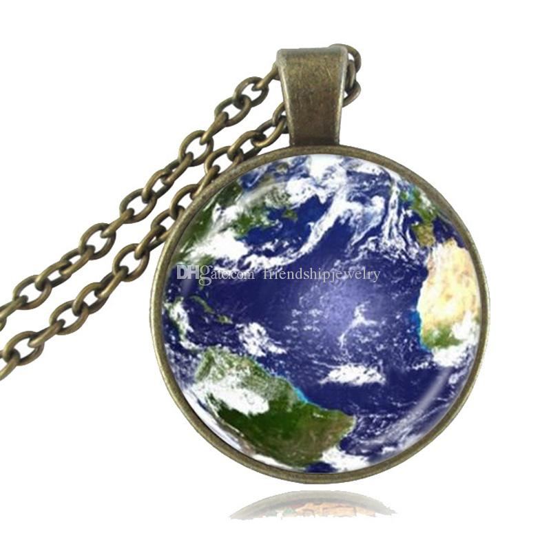 Mother Earth Photo Necklace Globe Pendant Planet Jewelry Space Necklace Glass Cabochon Time Gemstone Pendant Jewellery
