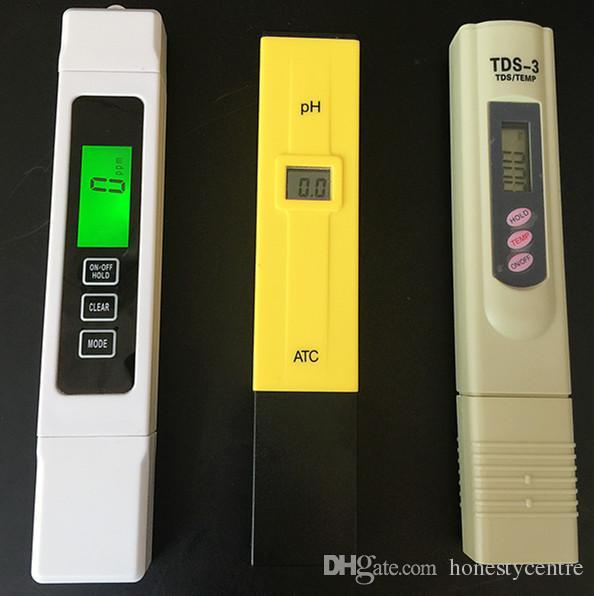 3 pçs / lote TDS EC 0-5000 ppm Tester, PH ATC / TDS calibrar por manter TEMP botton meter, caneta digital, monitorar a qualidade da água para