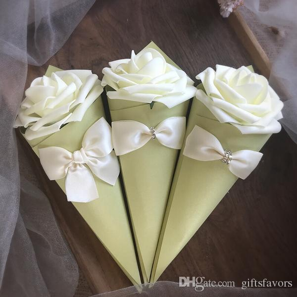 Paper Cone Shape Candy box chocolate container favor holder boxes with Rose Flowers Bowknot Diamond wholesales