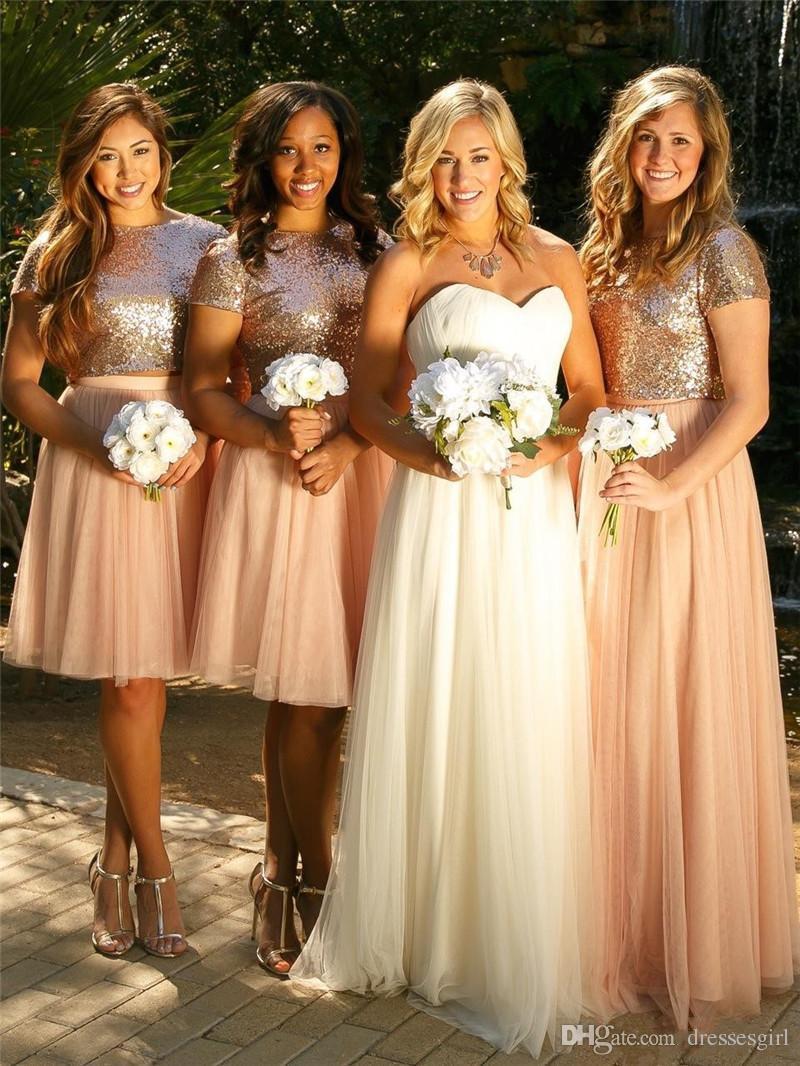 高品質Aラインショートブライドメイドドレスキラキラスパンコールジュエルニーレングスかわいい結婚式のゲストフォーマルドレス