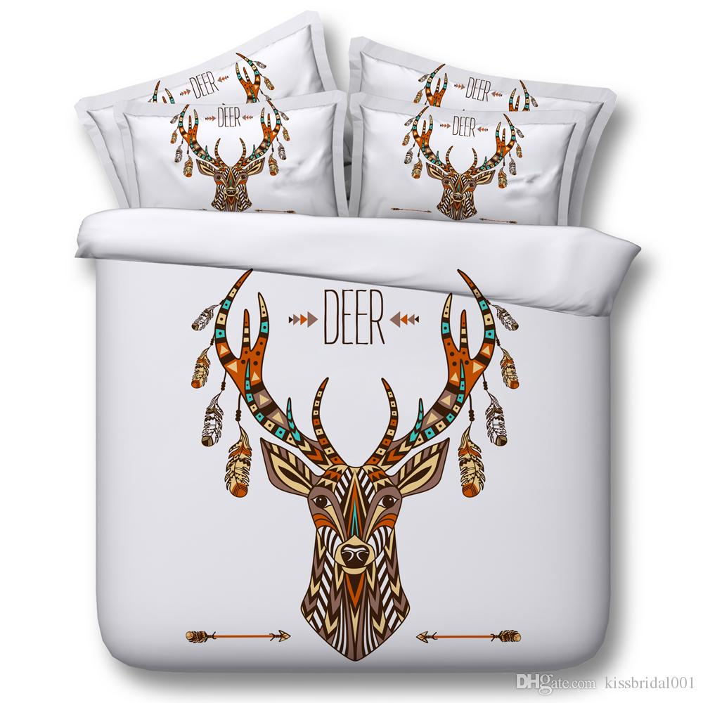 Deer Elk Cosmos Night Pattern 3D Printed Queen Size Bedding Quilt Duvet Cover Set Multicolor Available for Shipment Exclusively within the