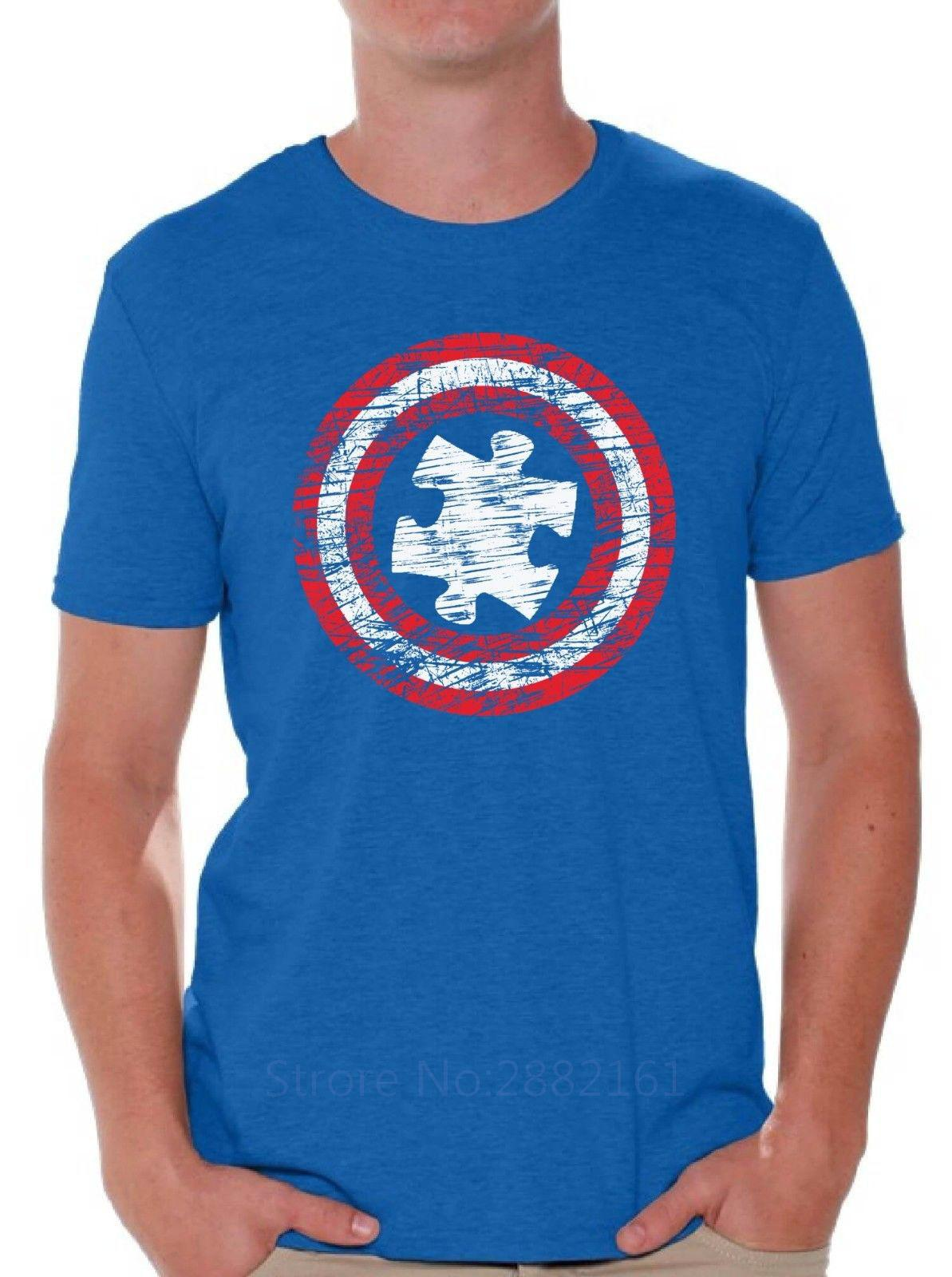 f3c90265f Autism Awareness T Shirt Autism Distressed Shield Puzzle Shirt Men High  Quality Tees Really Funny T Shirts Funny Vintage T Shirts From Beidhgate03,  ...