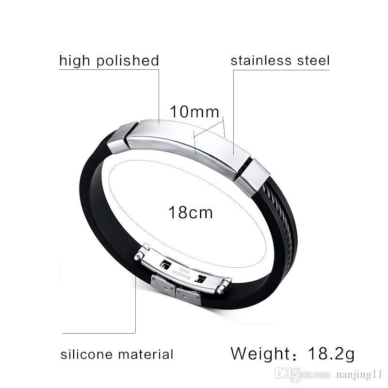 Pulsera de silicona negra Pulsera de acero de titanio Pulsera de joyería de moda coreana al por mayor accesorios creativos BS-004