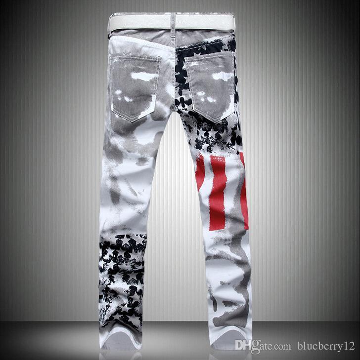 Fashion hot mens designer jeans men denim with wings american flag plus size