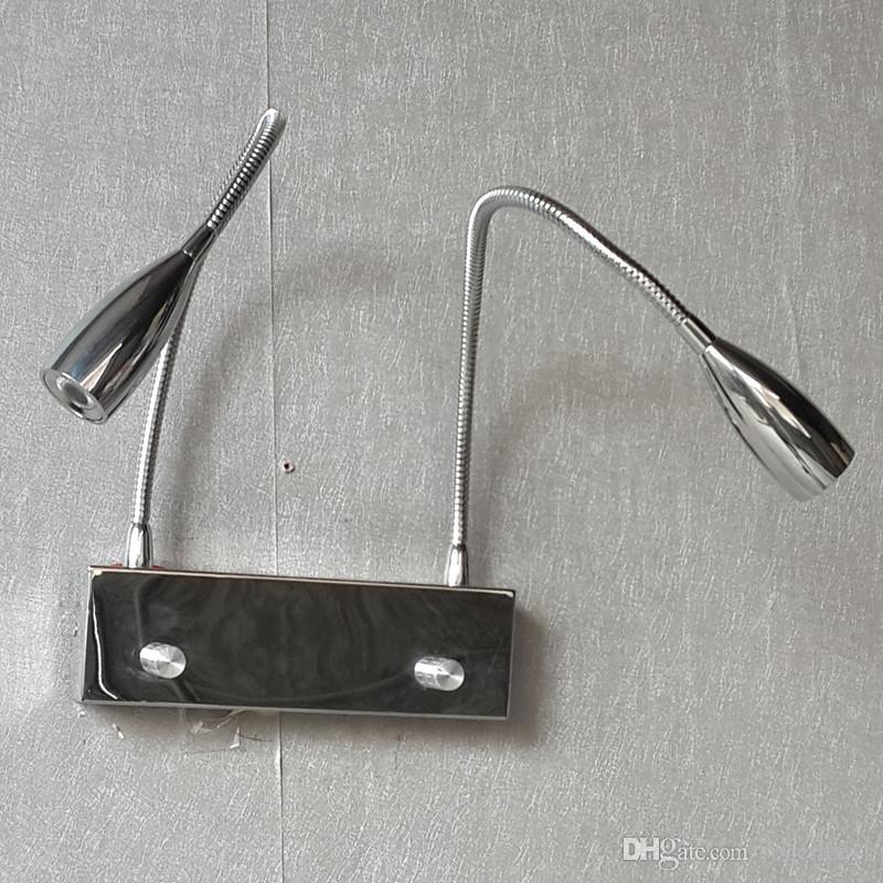 مصباح الجدار Topoch التكيفي 2x3W المصابيح مع مقبض توأم على / إيقاف / باهتة التبديل المزدوج أضواء مرنة تعمل بشكل مستقل الانتهاء من الكروم