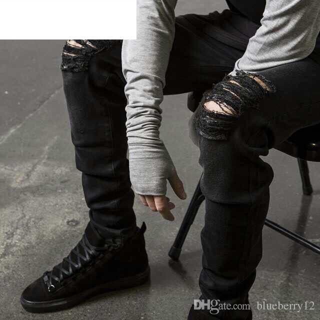 Moda Hombre Recto Slim Fit Biker Jeans Pantalones Distressed Skinny Ripped Destroyed Denim Jeans Washed Hiphop Pantalones Black