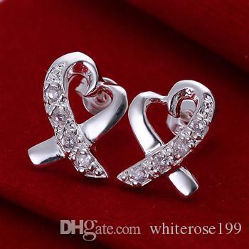 도매 - 최저 가격 크리스마스 선물 925 스털링 실버 패션 귀걸이 E53