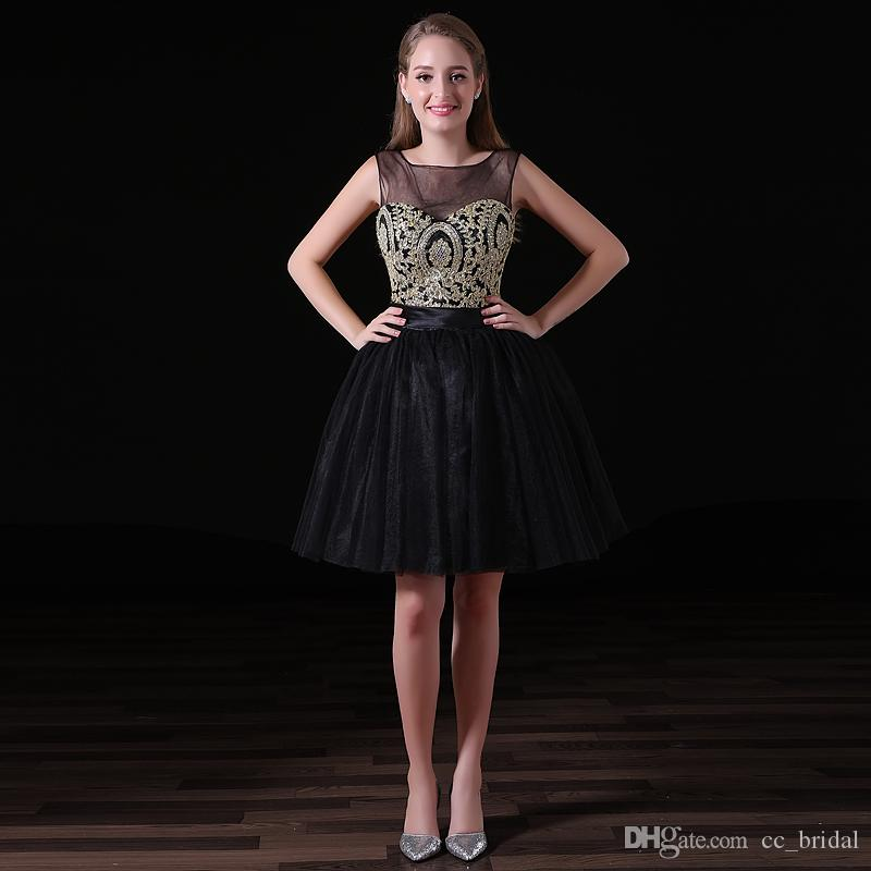 2018 New Charming Short Homecoming Dresses Sexy Illusion Neck Black