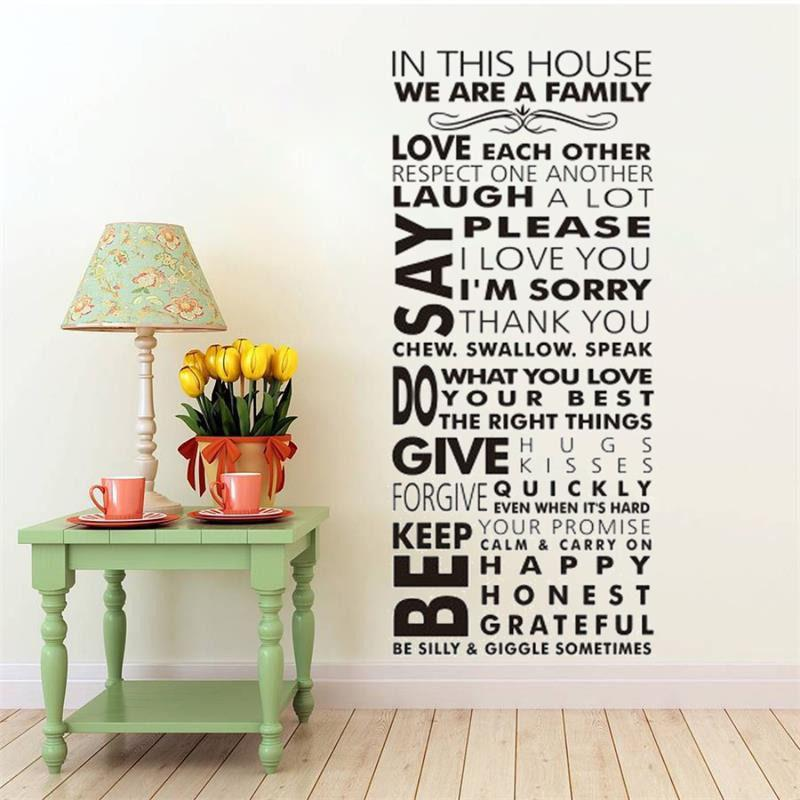 In this house vinyl family wall stickers decals home decor creative diy removable vinyl wall stickers wall stickers large wall stickers letters from fst1688