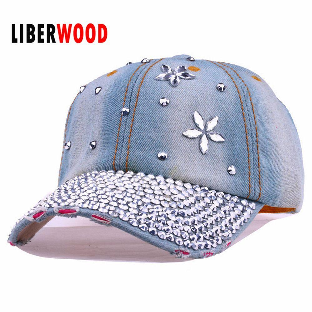 71e882a9b25 Wholesale Lady Fashion Denim Crystal Flower Jean Denim Distressed Baseball  Cap Hat Shining Bling Hat Curved Ball Cap Women Summer Hats Snapback Cap  Cool ...