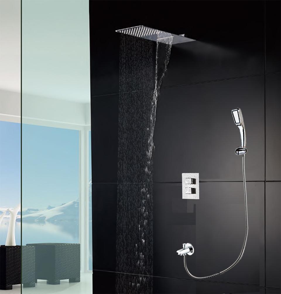 현대 벽 마운트 샤워 꼭지 목욕 패널 벽면 샤워 헤드 빗 폭포 HS9001에 서 모스 탯 샤워 믹서