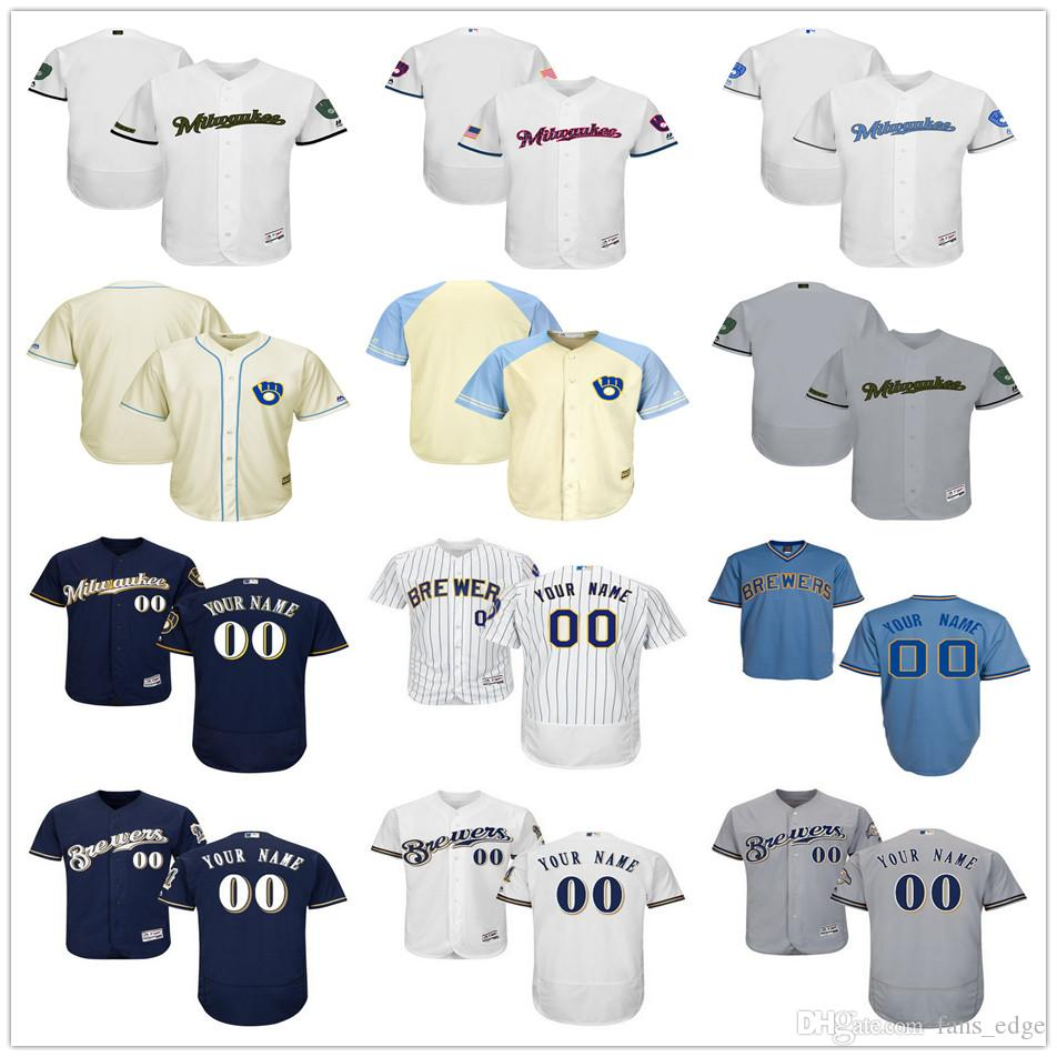 52e24d59f ... 2017 Milwaukee Brewers Customized Jersey Shirt Men Women Youth Kids  Custom Any Name Any Number Stitched ...