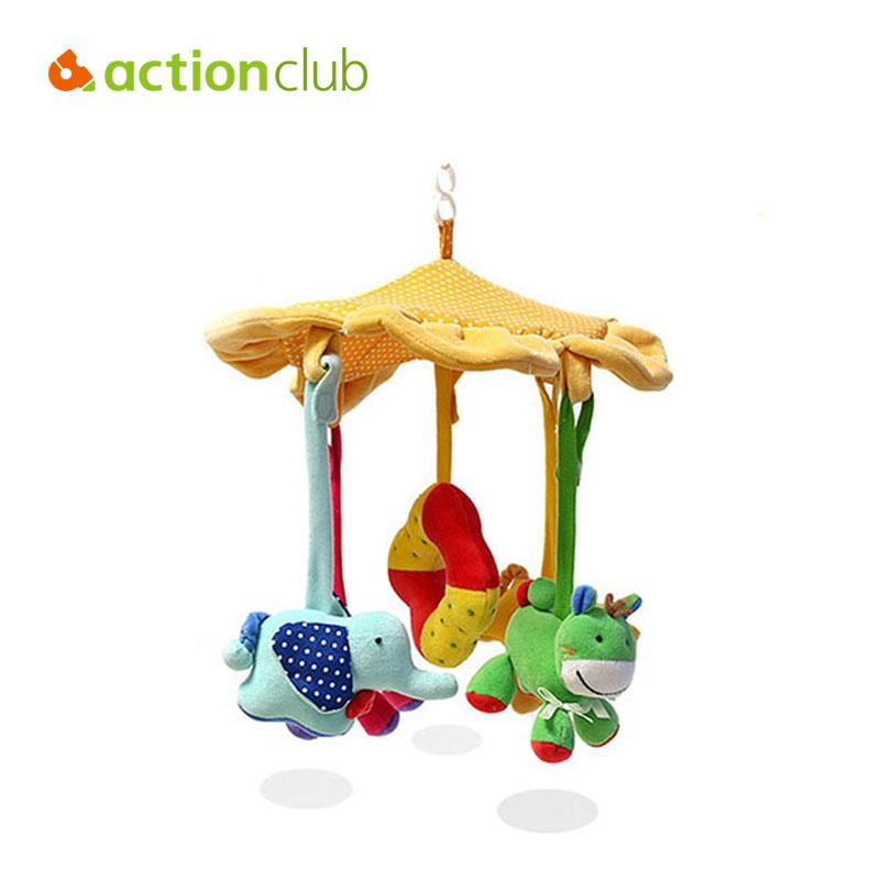 Wholesale- Actionclub colorful animals baby toy educational mobile baby cot beds rotate stroller car bed rattles toys for baby