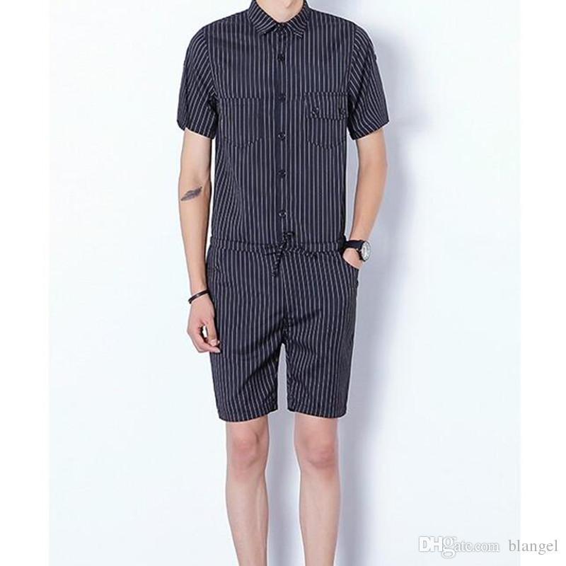 1b65b55c744 2019 Male Blue And Black Striped Casual Rompers And Jumpsuits Summer Short  Sleeves Overalls Shorts Pants For Adult Men Labour Suits From Blangel