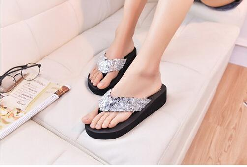 1bf820ea6948d4 Wholesale TOYL Platform Thong Wedge Beach Sandals Women Slippers Slip  Resistant Paillette Beach Flip Flops Silver Sparx Sandals Blue Shoes From  Bking