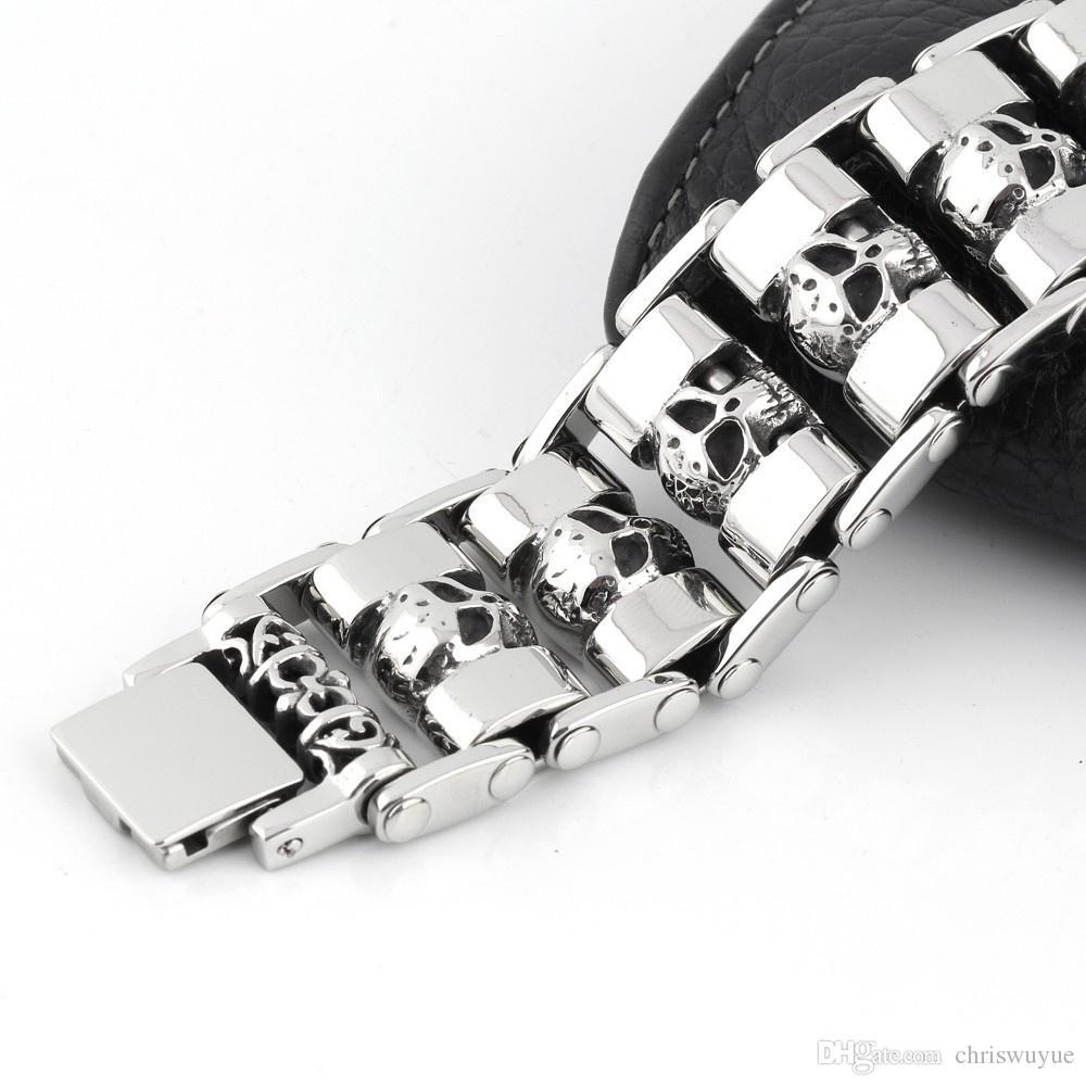 316L acciaio inossidabile 25mm enorme pesante solido degli uomini d'argento di scheletro del braccialetto del cranio del fantasma braccialetto del motociclista punk Jewerly