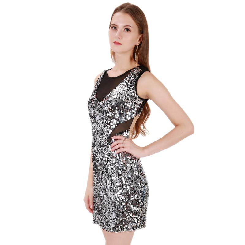 Sexy Silver Sequins Bandage Dress Plus Size O Neck Sleeveless