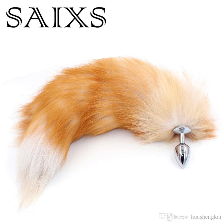 Big Fox Tail Metal Anal Plug Sex Anal Leksaker Butt Plug Cosplay 3 Storlek för val