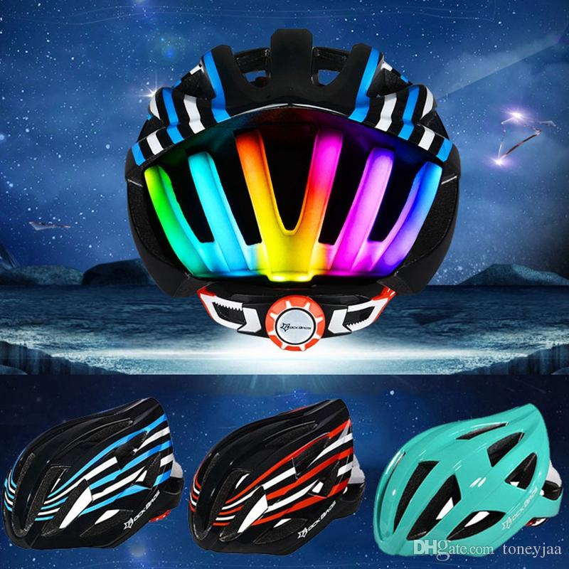 2019 ROCKBROS LED Tail Light Cycling Helmet Ultralight Bicycle In Mold MTB Bike Helmets Casco Ciclismo Road Mountain 56 62CM 345g From