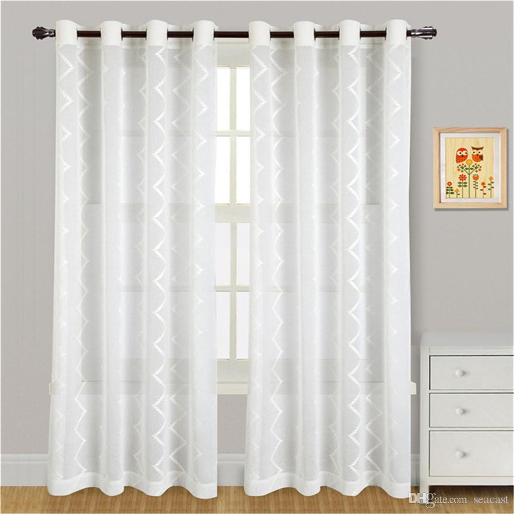 Elegant Embroidered Yarn Curtains Blackout Curtain Blind Living Room Home Decorationtulle Voile Sheer Rod Pocket
