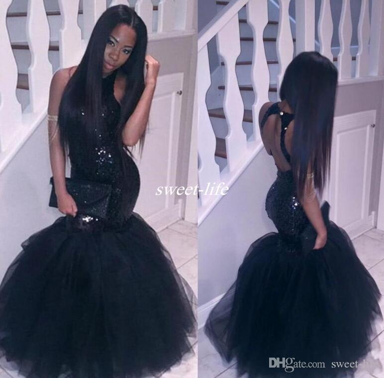 Sparkly Black Girls Mermaid African Prom Dresses 2020 Halter Neck Sequins Tulle Sexy Corset Formal Dress Cheap Party Pageant Gowns
