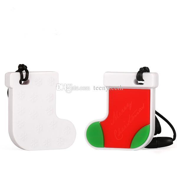 10 Adet YENI Noel Çorap Silikon Diş Kaşıyıcı Boncuk Bebek DIY Kolye Dişlikler Kolye Bebek Accessoires 60 * 55 * 11mm BPA Güvenli ...