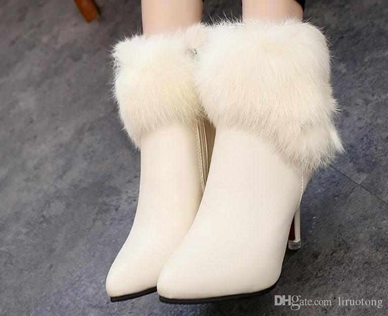 Europe in the spring of 2017 Korean version of the new high-heeled boots with a fine hair female Martin boots shoes slippers