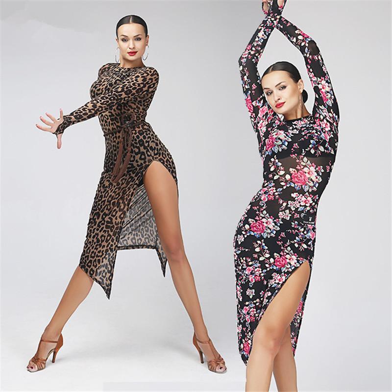 89c685fb75c92 Acquista Vestito Da Ballo Latino Adulti   Ragazze Salsa Tango Chacha Sala Da  Ballo Pratica Da Ballo Abito Da Ballo Leopardo Manica Lunga Con Stampa  Floreale ...