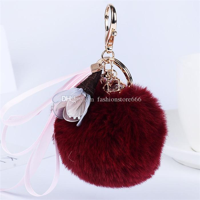 Women's Girl's Fur Ball Fluffy Round Ball with Ribbon Handmade Cloth Art Flowers Metal Keychain Keyring Car Key Chains Handbag Charms Gift