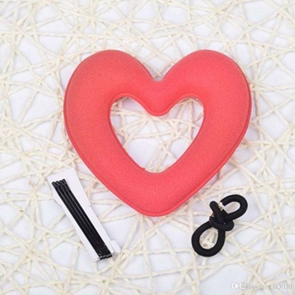 Cute Heart Shape Tiaras Hair styling Tool Women Girls Sponge Bract Head Meatball Hair Bun Maker Ring Donut hair braiders