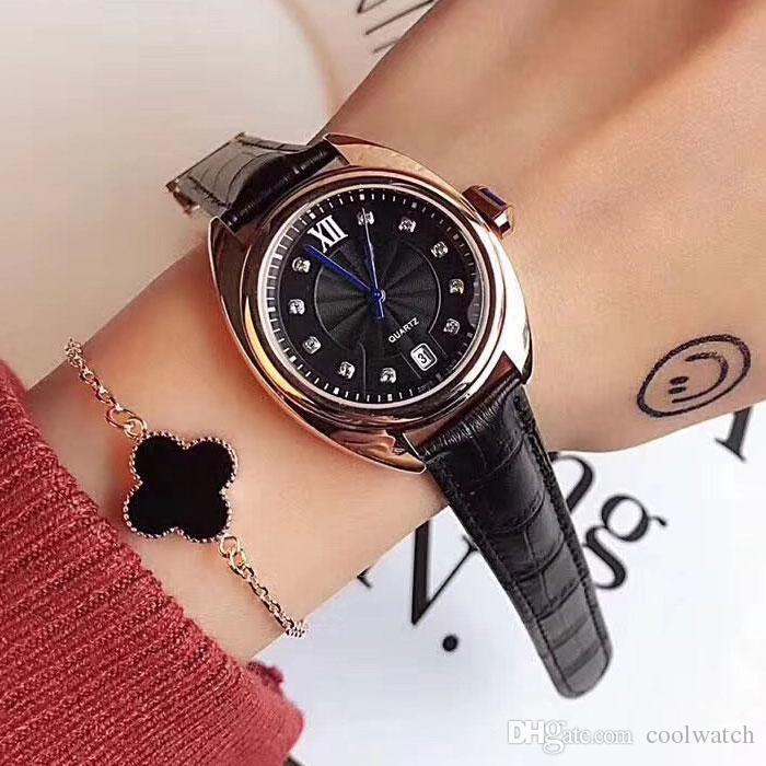 Marca do vestido feminino relógios de luxo strass 35mm dial pulseira de couro diamante com data relógio de quartzo para as mulheres lady girl presente dos namorados