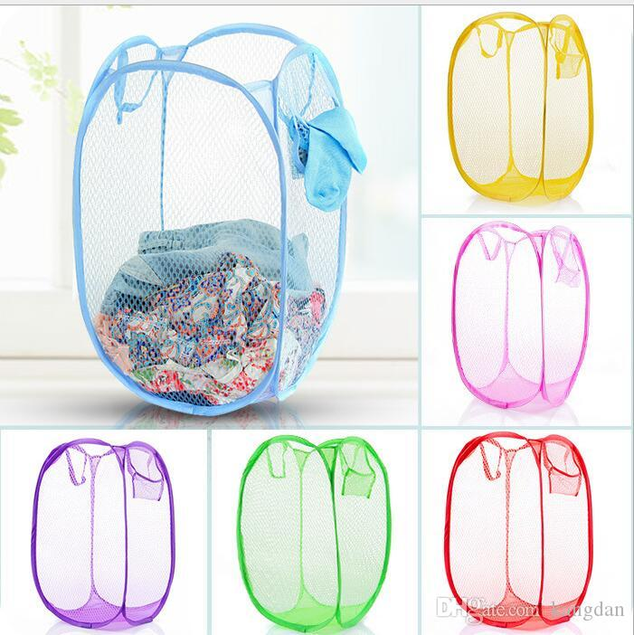 portable outdoor Mesh Fabric Foldable Pop Up Dirty Clothes Washing Laundry hamper Basket Bag Bin Hamper Storage bags for Home Housekeeping