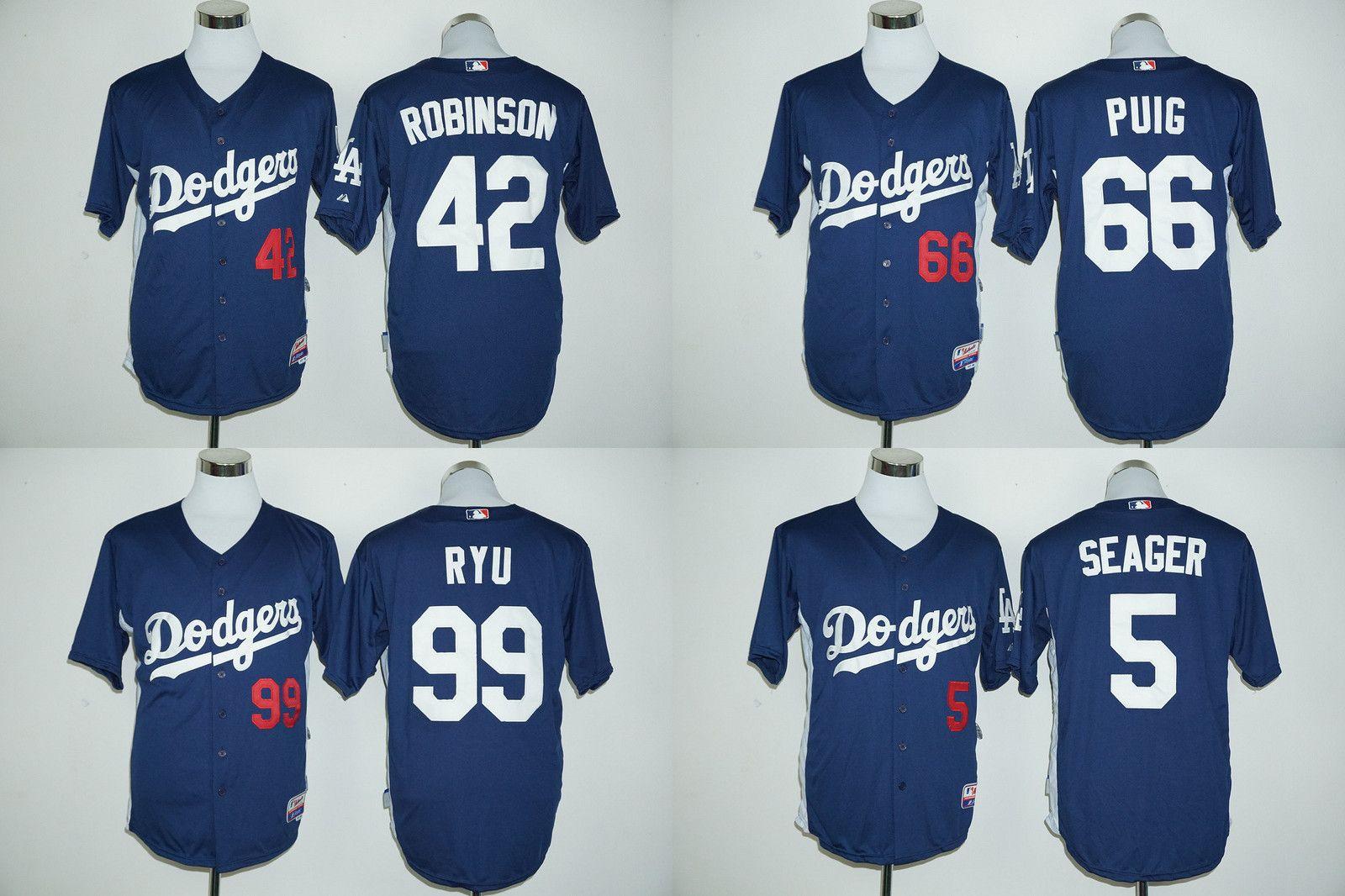 Compre Jersey De Los Ángeles Dodgers   5 Corey Seager   66 Yasiel Puig   42  Jackie Robinson   99 Jerseys De Béisbol Azules De Hyun Jin Ryu De Manga  Larga A ... 4d4301293bc