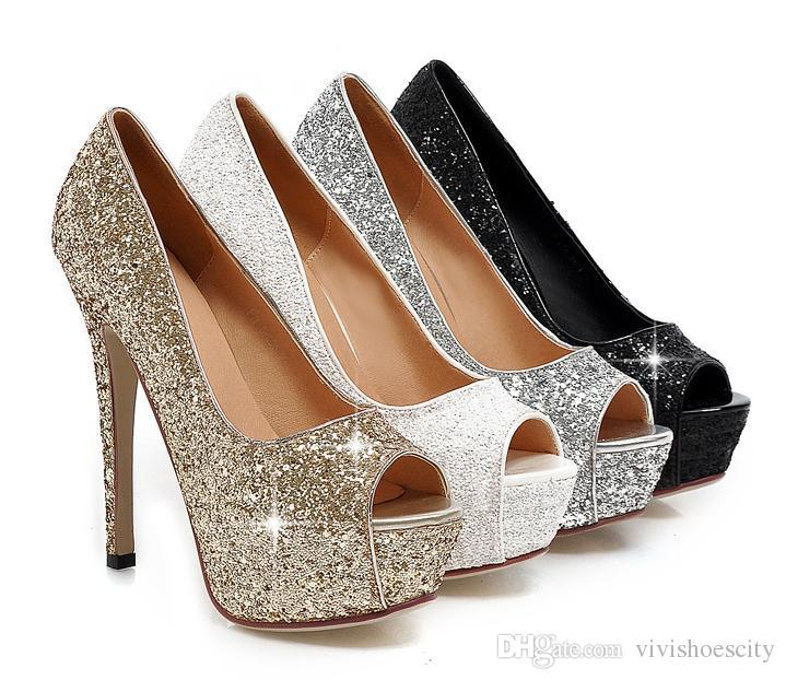 7bceaf29241 Plus Size 40 41 42 43 Bridal Wedding Shoes Gold Silver White Glitter  Sequined Stiletto Pumps Cheap Trainers Blue Shoes From Vivishoescity
