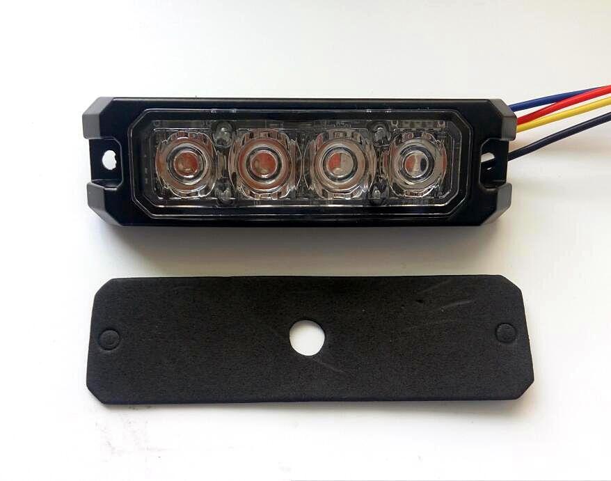 4 * 3W 자동차 외부 경고등, 표면 장착 그릴 비상 조명, Led lightheads, 신호등, 23flash, 방수