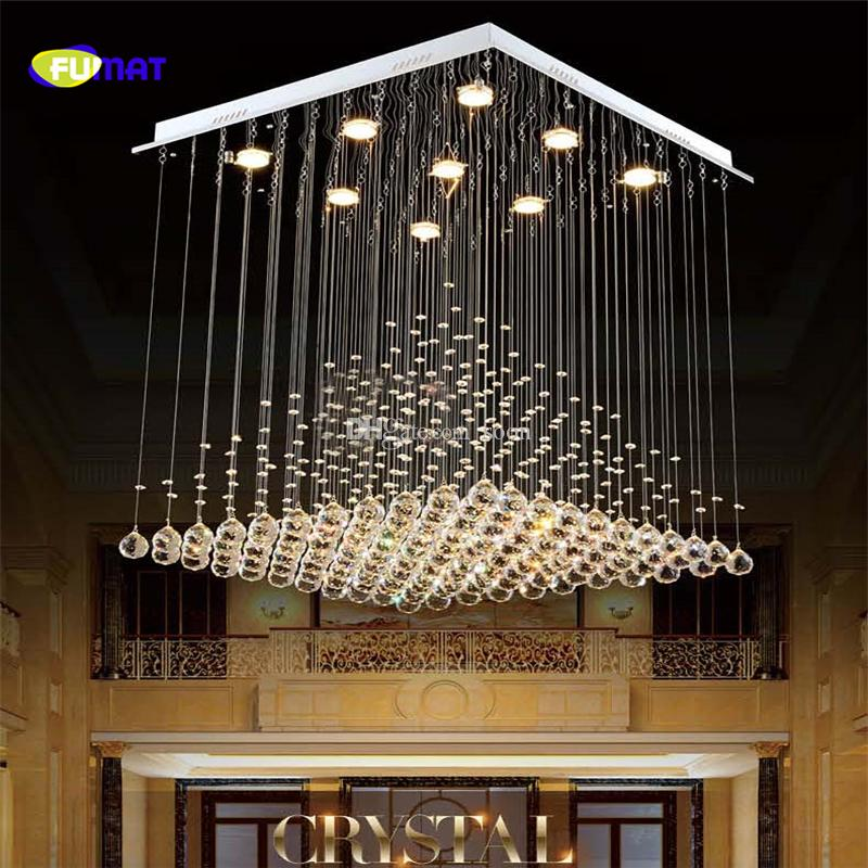 Fumat K9 Crystal Chandelier Modern Lustre Hotel Stair Led Crystal