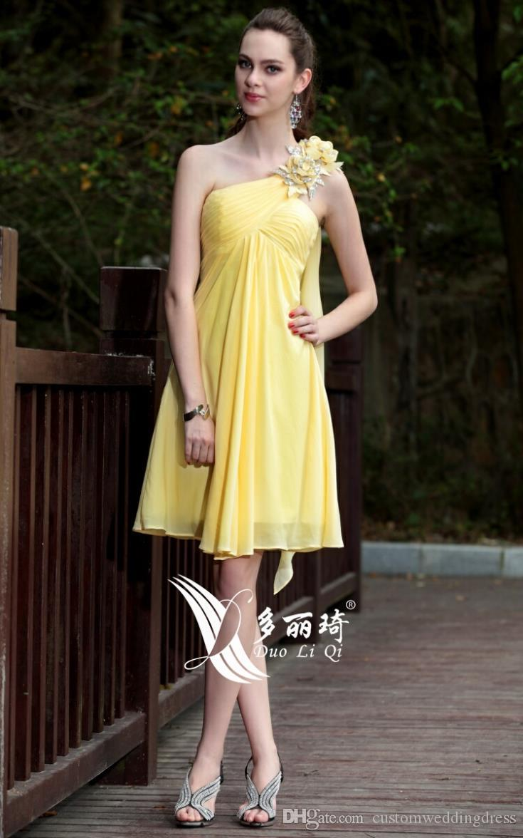 2018 yellow one shoulder flower chiffon tube top elegant cape swifter banquet dress short Bridesmaid Dresses