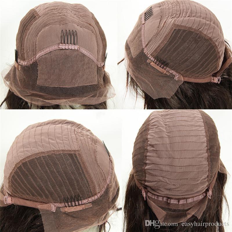 Parrucche di seta piena del merletto Top cima di seta 4x4 Linea naturale capelli Linea onda Brasiliana peruviana dei capelli umani Glueless parrucche di base di seta G-EASY