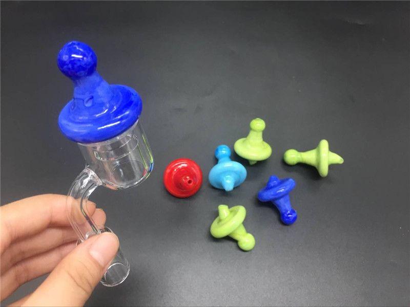 Top Quarz Banger Quarz Nagel Mit Farbe Carb Kappe 10mm 14mm 18mm 45 90 Quarz Bangers Nägel Für Glas Ölplattformen