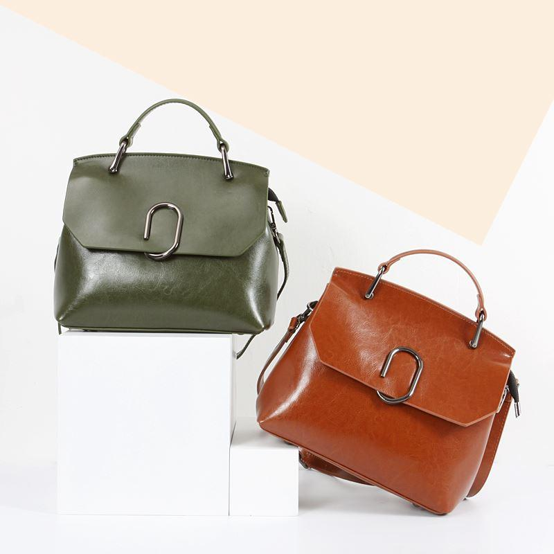 Genuine Leather Bags Oil Wax Leather Bag Small Single Shoulder Bag ...