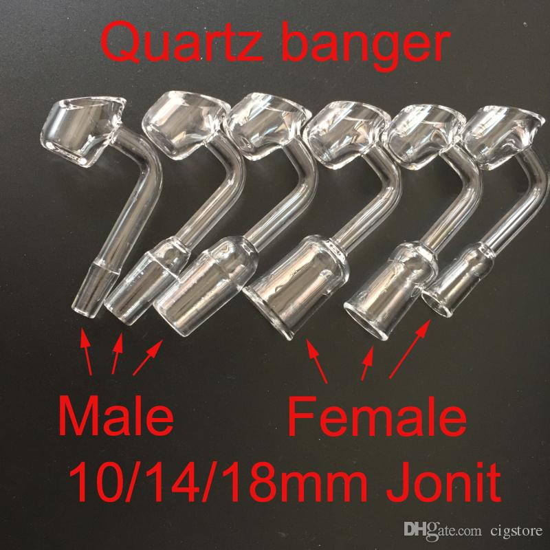 Quartz Banger nail 10mm/14mm/18mm female male joint By Liguid Sci curved pipe Quartz nail for bong VS titanium nail Glass bowl