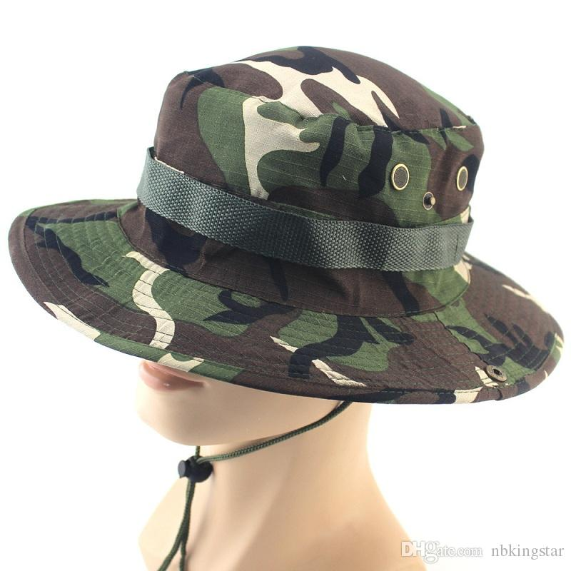 2017 New Men Camouflage Printing Bucket Hat Wide Brim Military Hats Chin  Strap Fishing Cap Camping Hunting Caps Sun Protection Cowboy Hats Pork Pie  Hat From ... 481295df5476