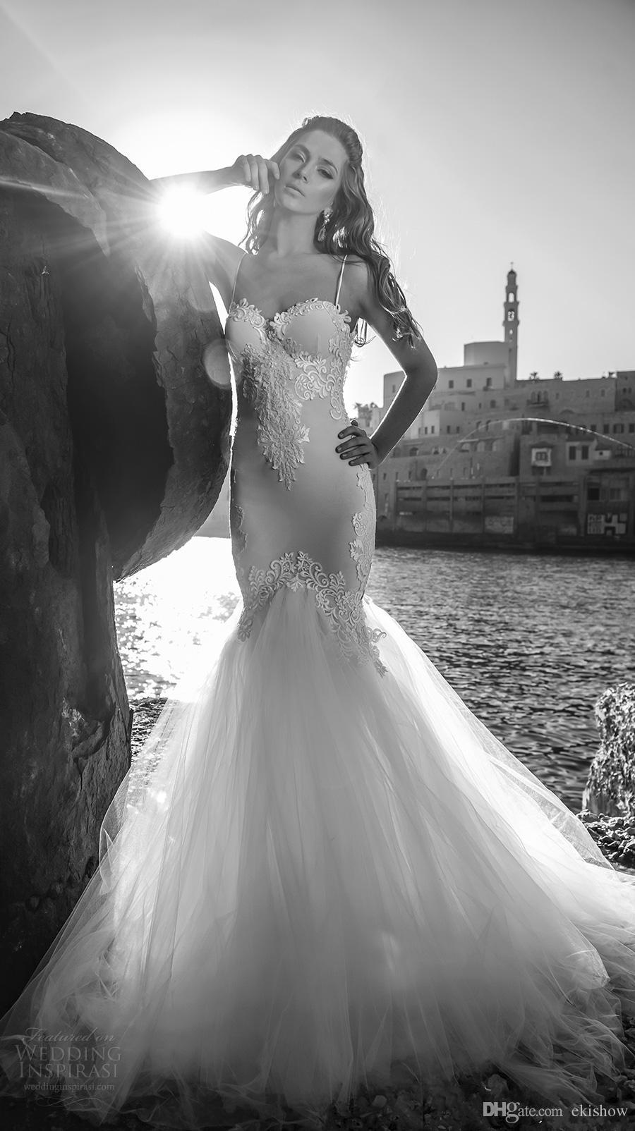 Vestidos De Noiva 2017 Marfil Blanco Impresionante Julie Vino Sirena Vestidos de novia Sexy Correas de espagueti Sin respaldo Playa Vestido de novia